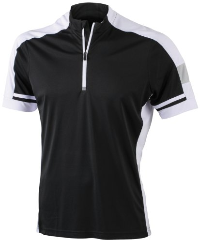James & Nicholson Herren Sport Top Radtrikots Bike-T-Half Zip schwarz (black) Large