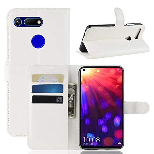pinlu® PU Leder Tasche Handyhülle Für Honor View 20 Smartphone Wallet Hülle Mit Standfunktion & Kartenfach Design Hochwertige Ledertextur Weiß
