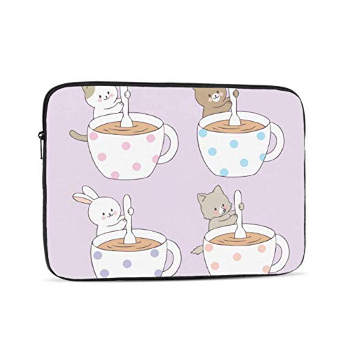 Laptop Sleeve Case 17 Inch Cartoon Cute Animals Coffee Cup Laptop Sleeve/notebook Computer Pocket Case/tablet Briefcase Carrying Bag