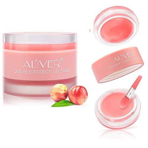 Aliver Nature Lip Scrub, 2 in 1 Exfoliating & Moisturizing Lip Sleeping Mask, Younger Looking Lips Overnight,Long Lasting Lip Moisturizer and Conditioner Lip Balm for Dry & Cracked Lips (Peach)