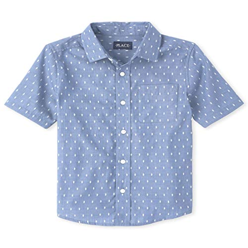 The Children's Place Boys' Dobby Button Down Shirt, Chambray, S (5/6)