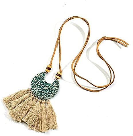 xunyang Bohemian Long Tassel Necklaces&Pendants Bronze Green Moon Geometric Shaped Alloy Sweater Necklace Boho Wooden Beads Necklace (Metal Color : N010023B)