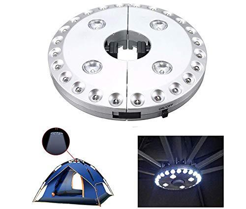 Tafeiya Kabellose 28 LED Regenschirm-Lichter, 3-stufig, dimmbar, Sonnenschirm, LED-Licht, Regenschirm, Stange, Terrassenzelt, Beleuchtung reines weißes Licht Campingplatz Hängelampe silber