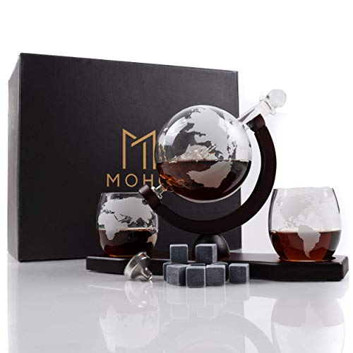 Moho Premium Whiskey Decanter Gift Set   Handmade Globe Decanter Set   2 Glasses   Ship In a Bottle   Perfect Gift   Man Cave Decor   Bourbon, Scotch   Glass Globe Tequila Decanter   Includes 9 Stones