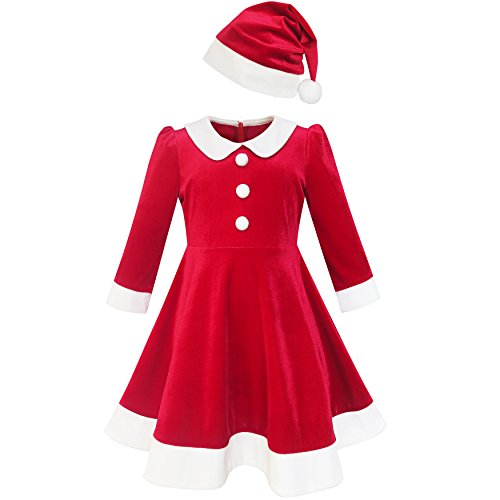 Sunny Fashion LL35 Girls Dress Christmas Hat Red Velvet Long Sleeve Holiday Size 8