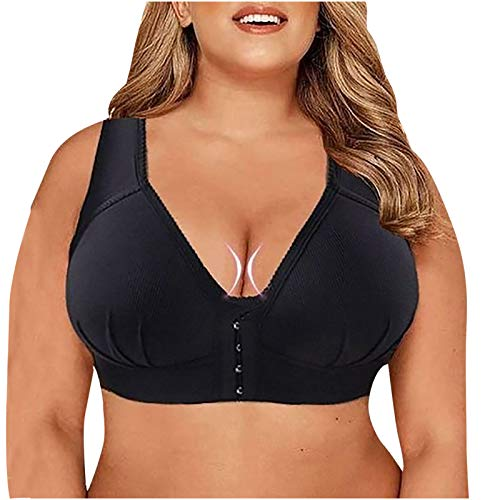 Women's Seamless Bra No Underwire Stretch Front Closure with Support Comfy Bra Black