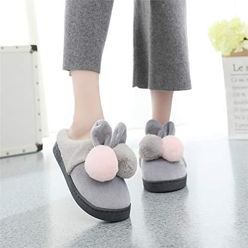 Cartoon-kogel Pantoffels voor dames, katoen, met warme binnenkant, voor slaapkamer, studenten, in de herfst en winter, casual pantoffels