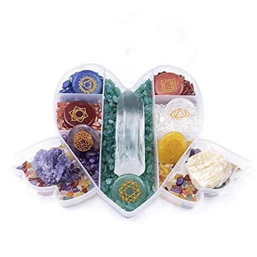 GHTGHTS Piedras de Cristal con Forma de Amor símbolo de Chakra Grabado Pulido para Terapia de meditación decoración de Piedras de Cristal