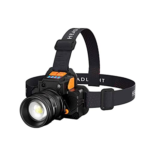 SMSOM USB Linterna Recargable del Faro: hasta 99 Horas de luz Constante en una Sola Carga, un Faro Ligero y cómodo, Ligero y cómodo