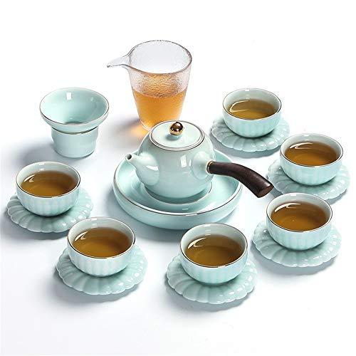 Juego de té para té de la Tarde Tetera China de té de Porcelana China Kung fu Viaje Taza Taza Hecha a Mano té Taza Taza Conjunto Conjunto de Tetera (Color : Green, Size : One Size)