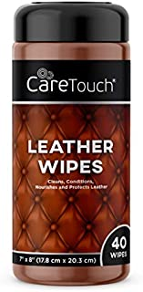 Care Touch Leather Wipes | 40 Wipes | Cleans, Conditions, and Protects Leather Goods on the Go