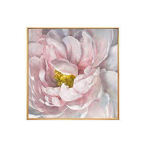 CYTTOU Modern konstnär målade abstrakta rosa blommor oljemålning på duk väggkonst ramlös bildinredning för vardagsrum hemgåva 20x20 tum Ingen ram