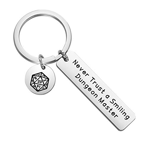 BLEOUK Dungeons and Dragons Gift Dungeon Master Gift DM Gift Funny Dungeons and Dragons Gifts Never Trust Smiling Dungeon Master Keychain DND Dice Keyring (DM ky)