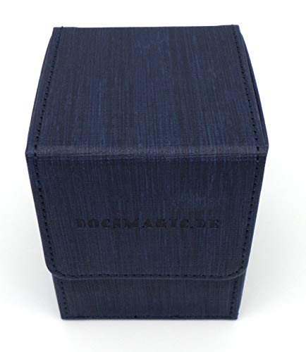 docsmagic.de Premium Magnetic Flip Box (100) Blue + Deck Divider - MTG PKM YGO - Kartenbox Blau
