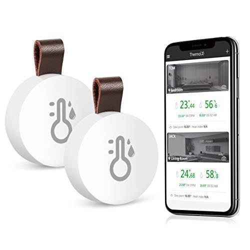 ORIA Kabelloses Bluetooth Thermometer Hygrometer, 2 Stück Innen Thermo-Hygrometer Mini mit Daten Export-funktion, kompatibel mit iPhone und Android für Wein, Zigarre, Wohnzimmer, Babyzimmer, Haus etc