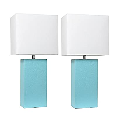 Elegant Designs LC2000-BWN-2PK 2 Pack Leather Lamps 2 Pack Modern Leather Table Lamps with White Fabric Shades