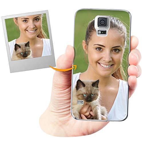 Coverpersonalizzate.it Cover Personalizzata per Samsung Galaxy S5 / Galaxy S5 Neocon la Tua Foto, Immagine o Scritta - Custodia Morbida in TPU Gel Trasparente - Stampa di altissima qualità