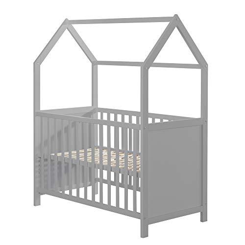 roba-kids 203120TPFS - Cama de casa 60 x 120 cm, cama de bebé y cama supletoria con aspecto de casa, blanca, ajustable en 3 direcciones, convertible, unisex, pardo