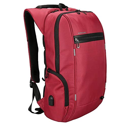 Casual Backpack Anti Theft Laptop 13/15.6/17 Inch for Teenager USB Charging Bag Best Travel Backpack (Color : Red, Size : 17 Inch)