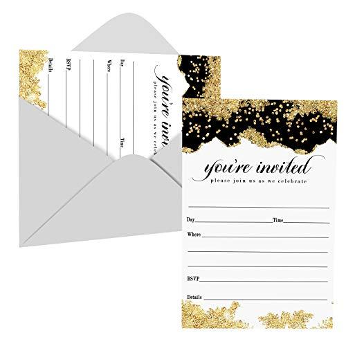 Party-Einladungen und Umschläge, Schwarz, 25 Stück