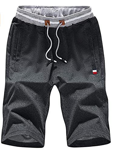 Leezepro Pantalones Cortos Deportivos para Hombre Pantalones Cortos Casuales (S, Gris)