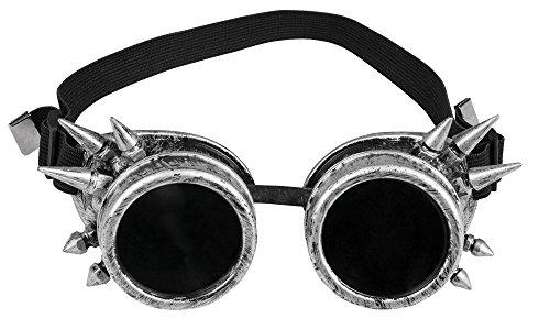 narrenkiste T1878-1700 Silber-bruniert mit Stacheln Fliegerbrille Steampunkbrille