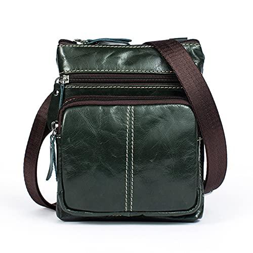 Bolso de mensajero pequeño de cuero genuino para hombres, bolso de mensajero Crossbody bolso de viaje, c, Talla única,