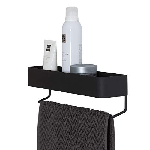 Sealskin Brix Handtuchreck mit Ablage, Handtuchhalter aus Metall, Breite: 35 cm, Farbe: Schwarz