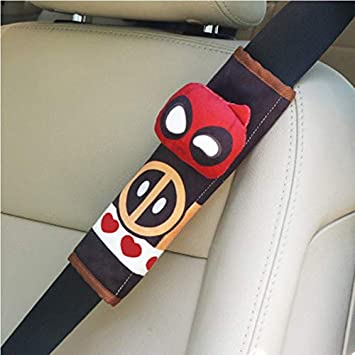 Gwgbxx Car Seat Belt Shoulder Pad Sets Sets Cute Cartoon Car Seat Belts Jewelry Batman Spider-Man Color : B Captain America Deadpool