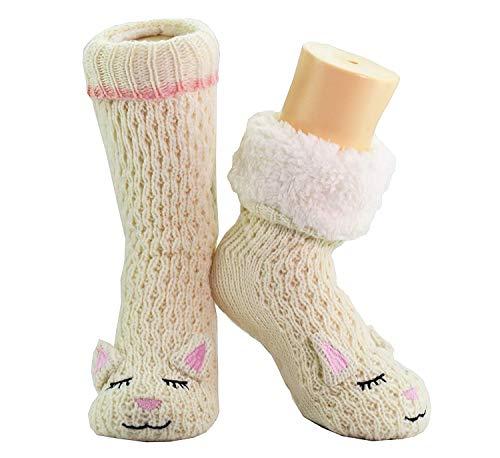CityComfort Slipper Socken 3D Neuheit niedlichen Tier gestrickte extra warme Hausschuhe super weiche Winter Wolle (weiße Schafe)