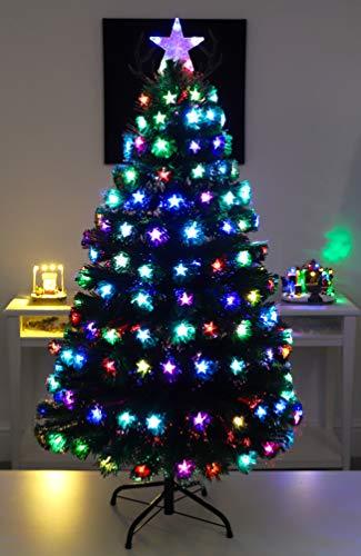 Christmas Concepts® 48 Pollici (4FT) Green LED Albero di Natale in Fibra Ottica con Stelle LED a Cambiamento di Colore + Fibra Ottica con Base in Oro