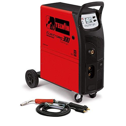 Telwin Electromig 300 SYNERGIC ATC MIG/MAG/WIG/MMA Multiprozess Schweißgerät Schutzgasschweißgerät, Set inkl. Schlauchpaket, Masseanschlussgarnitur und Gasschlauch