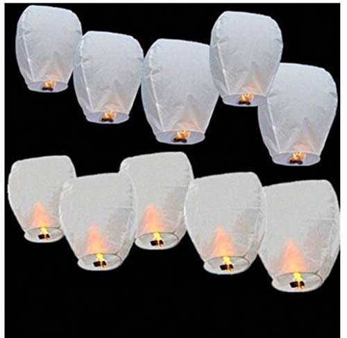10/20 pièces Lanternes Volantes de Ciel Chinois, Couleur Blanc (Blanc, 20PCS)