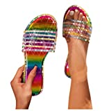 YIFANG Women's Glitter Bling Flip Flops Ladies Crystal Sliders Low Wedge Sparkle Sandals Slippers Mules Slip On Shoes