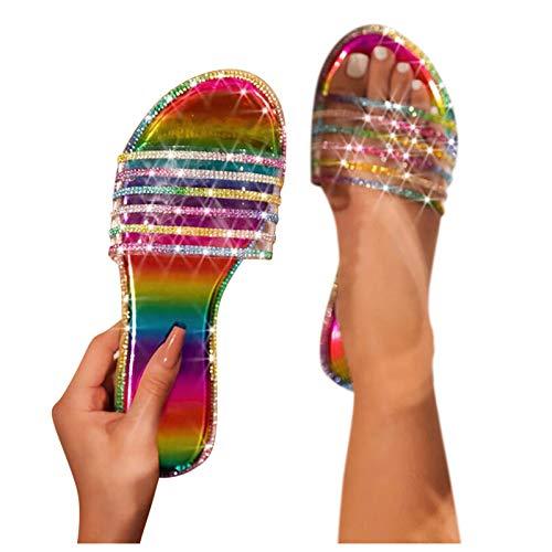 Masbird Sandals for Women Casual Summer,Flat Sandals Slip-On Flip Flop Open Toe Rinestone Beach Sandals