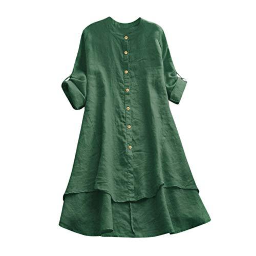 Xmiral Damen Bluse Taste Rollbar Langarm Unterschiedlich Langer Saum Lange Shirt Tunika Einfarbig Atmungsaktiv Oberteile Sweatshirts(Grün,S)