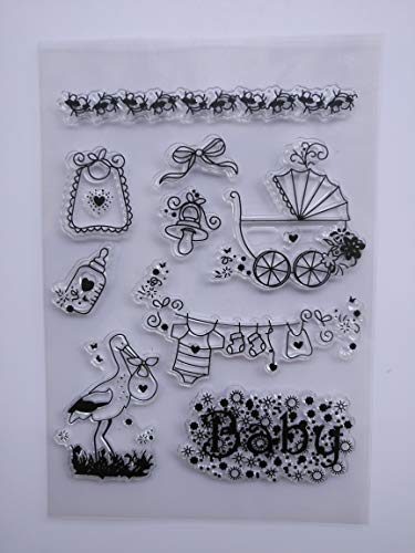 MaGuo Baby Stroller Clothes Bib Bottles Baby Things Clear Stamps for Card Making Decoration and DIY Scrapbooking