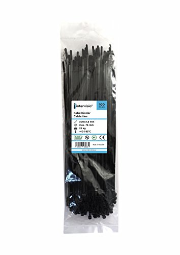 intervisio Fascette Plastica per Cablaggio 300 mm x 4,8 mm, Fermacavo Nere Elettricista 300mm Nylon Cavi Velcro Stringicavo, Nero, 100 Pezzi