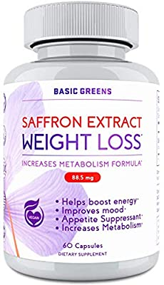 Saffron Supplement Appetite Suppressant and Weight Loss for Women - Saffron Extract Supplement 88.5mg - Appetite Control - Vegan Saffron Extract (60 Capsules) by BASIC GREENS