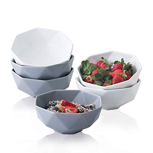 Müslischalen aus mattem Porzellan, 590 ml, 15,2 cm, Keramikschalen für Suppenschüsseln für Reis, Salat, Haferflocken, spülmaschinenfest (3 weiß und 3 grau)