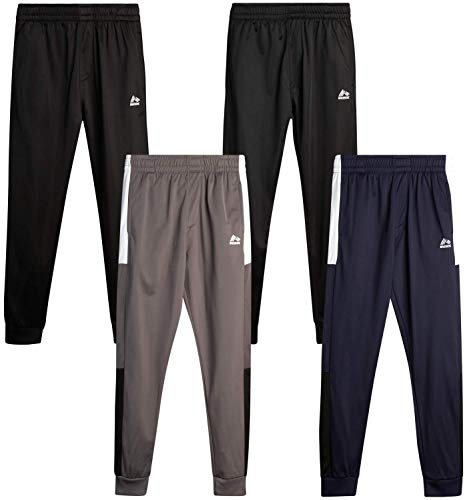 RBX Boys' Sweatpants - Active Tricot Joggers Warm-Up Track Pants (4 Pack), Size 14/16, Navy/Black/Grey/Black