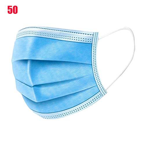 50 stuks van het besteedbaar filter maskers met 3 lagen van bescherming, anti-allergisch, ademend, comfortabel, ademend, medische stof beauty maskers voor de tandartspraktijk,Blue,One size