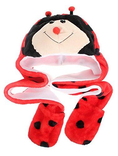MARRYME Adulte Enfant Peluche Bonnet Hat Echarpe Chale Earflap Gloves Gant Cagoule Automne Hiver Chapka Ski Animaux Déguisement (Coccinelle)