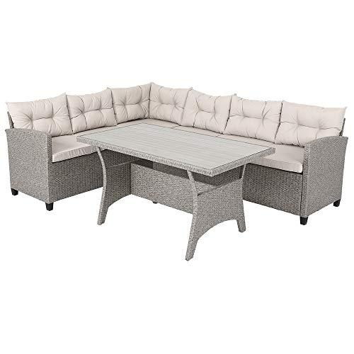 Deuba Poly Rattan Sitzgruppe Ecklounge 7cm Dicke Auflagen WPC Tischplatte Grau Beige 340cm Sitzgarnitur Garten