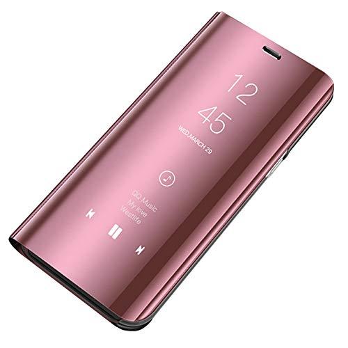 Bakicey Kompatibel mit Samsung Galaxy A02s Leder Hülle, Handyhülle Spiegel Schutzhülle Flip Tasche Case Cover mit Stand Feature Rückschale etui Bumper Hülle für Samsung Galaxy A02s (Roségold)