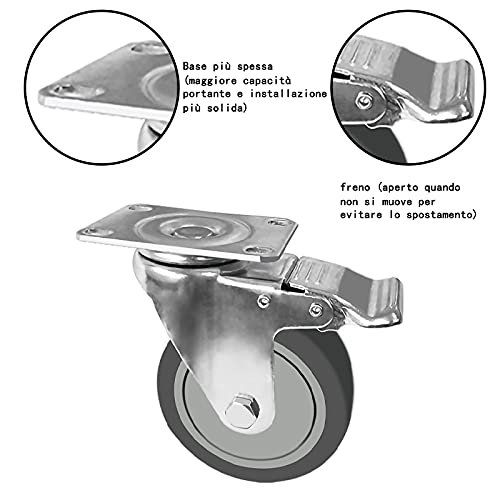 414jSREb4ES. SL500  - OK5STAR 4 ruedas giratorias de 10,16 cm, industriales, con tapa y tapa de goma TPR con freno de bloqueo