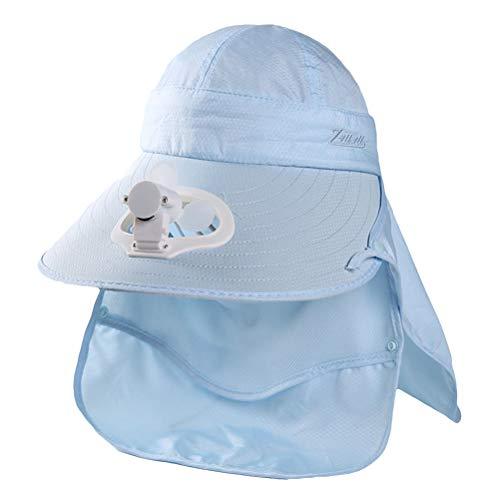 Oulian Gorra de Visera con Ventilador de Carga USB para Mujer de Verano con Cubierta de Cuello Facial Gorra de Béisbol de Red con Ventilador para Viajes de Campamento Al Aire Libre - Azul Cielo