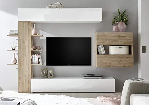 arredocasagmb.it Composizione Porta TV Bianca e Rovere Soggiorno Legno Composizione Porta TV Moderno Design Sora 2