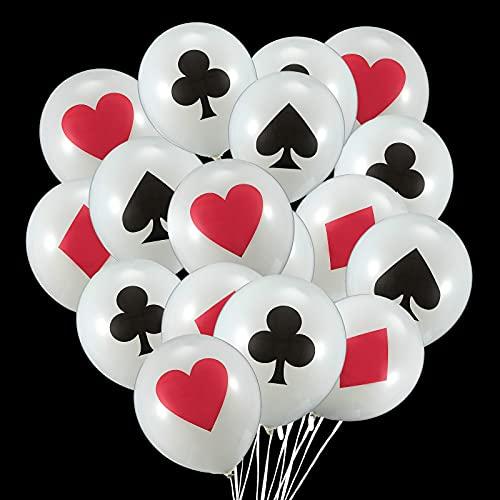 Sumind 24 Piezas Globos de Casino Globos de Látex con Temática de Póquer Globos de Jugar a Cartas para Fiesta de Tema de Casino, Eventos de Póquer, Decoraciones de Fiesta Temática de Cumpleaños
