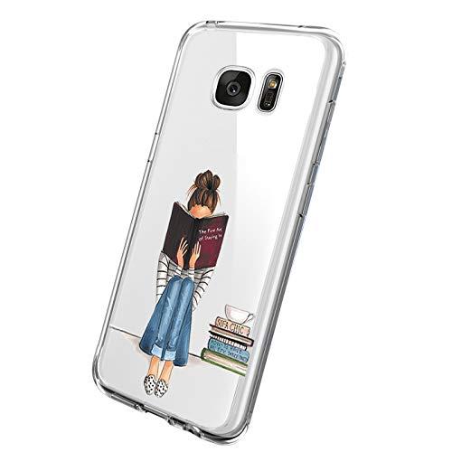 18eay Custodia Compatibile per Samsung Galaxy S6 Edge Plus Cover Trasparente Morbida in TPU Gel Silicone Ultra Sottile Fiore Anti Scratch Protettiva Case per Galaxy S6 Edge Plus